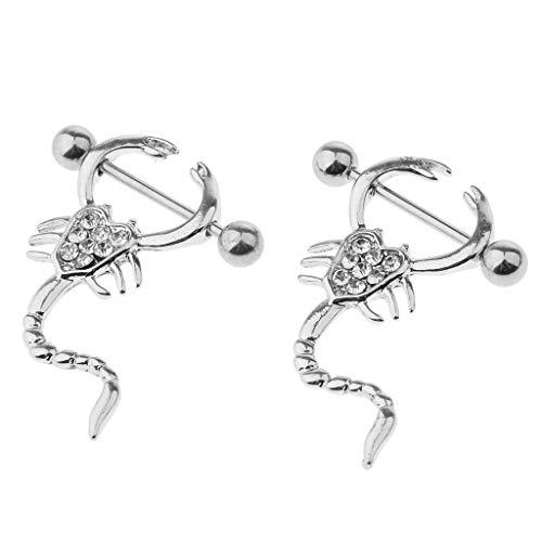 (Luxe Modz Nipple Shields Scorpion Design with Cubic Zirconias 14 Gauge Surgical Steel)