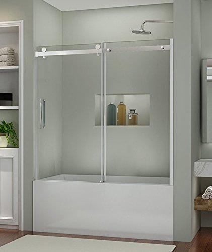 SUNNY SHOWER B038 New Frameless Sliding Bathtub Shower Door, 5/16'' Clear Glass Chrome Finish Stainless Steel Hardware, 60'' L x 62'' H by SUNNY SHOWER