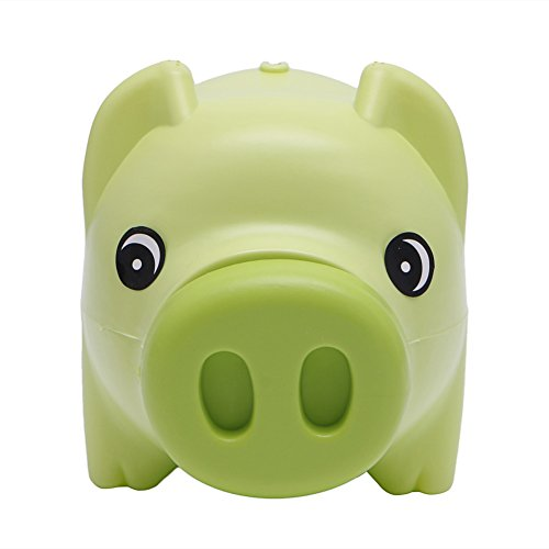 Hacloser Plastic Piggy Bank Coin Money Cash Saving Box Collectible for Boys Girls Kids Pig Toy Gift (Green) -