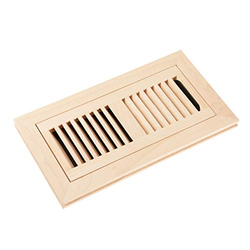 Homewell Maple Wood Floor Register, Flush Mount Vent with Damper, 4x10 Inch, Unfinished ()
