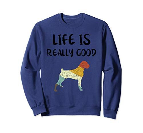 Vintage Boxer Life Is Really Good Retro Dog Mom Dad Gift  Sweatshirt