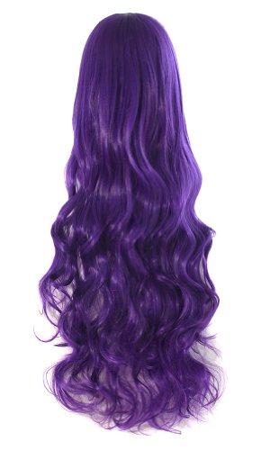 "MapofBeauty 32"" 80cm Long Hair Spiral Curly Cosplay Costume Wig (Dark Purple)"
