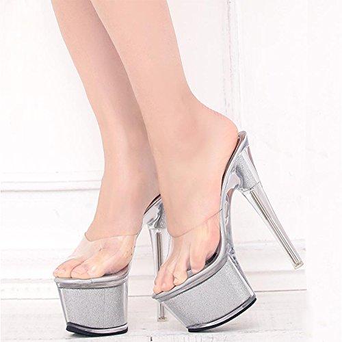 Estate Di Tacco Sandali Sexy Pantofole Ymfie Alto Moda Ad Donna Silvery  Personalità Con Party Scarpe ... 2862b0965a2