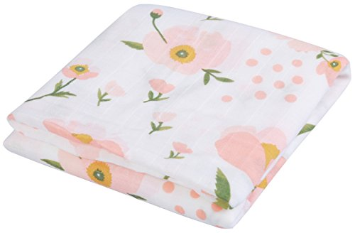 LittleJump Ultra Soft Bamboo Baby Blanket Floral Print Muslin Swaddle Blankets, 47 x 47 inches Baby Swaddle wrap for Girl. (Floral)