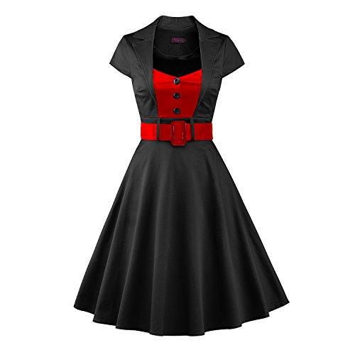 LUOUSE Vestido Mujer Corto cuello cuadrado Estilo 1950 Con Cinturón V067-Negro
