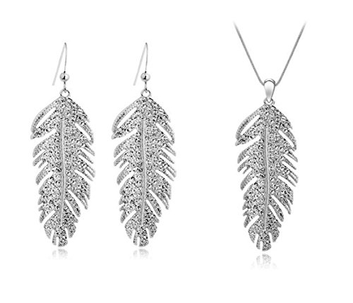 (Girl Crystal Drop Dangling Feather Love Leaves Earrings Chains Pendants Necklaces for Women Jewelry Sets (silver))