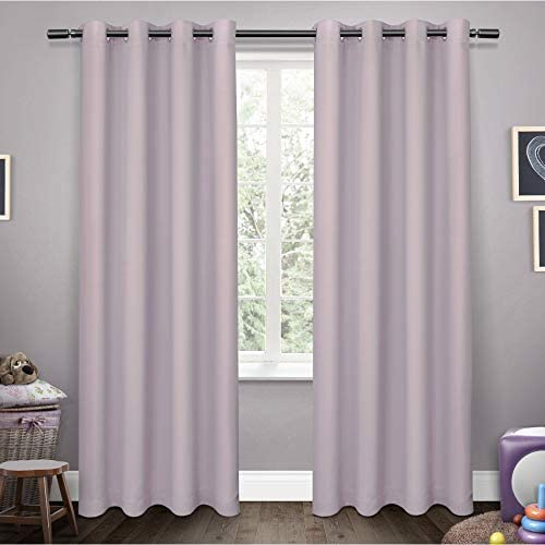 Exclusive Home Curtains Sateen Twill Woven Blackout Grommet Top Curtain Panel Pair, 52×96, Lilac, 2 Piece