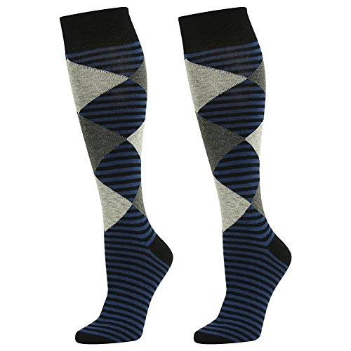 Long Tube CasualSock, SUTTOS Elite Mens Womens Ultimate Crazy Cool Pane Check Stripes Cotton Blend Soft Breathable Knee High Dressy Sock,2 Pairs
