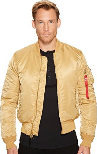 Alpha Industries  Men's MA-1 Slim Fit Flight Jacket Camel/Deep Brown Lining Outerwear