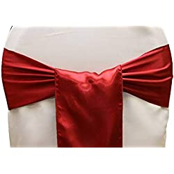 mds Pack of 25 Satin Chair Sashes Bow sash for Wedding and Events Supplies Party Decoration Chair Cover sash -Apple Red