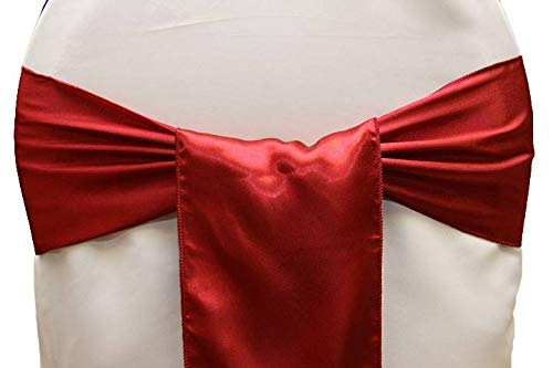 Pretty Satin Bow - mds Pack of 100 Satin Chair Sashes Bow sash for Wedding and Events Supplies Party Decoration Chair Cover sash -Apple Red