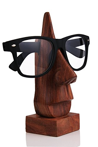 Store Indya Wooden Nose Shaped Eyeglass Spectacle Holder Handmade Stand for Office Desk Home Décor - Case Online Sunglasses India