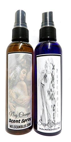 COMBO - Nag Champa & Patchouli 4oz Body Sprays - Scent Sprays (Patchouli Body Spray)