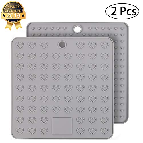 Yeeteching Silicone Pot Holders and Oven Mitts Hot Pots 7.28x7.28inch Trivet Mats,Drying Mat,Heat Resistant Pack 2