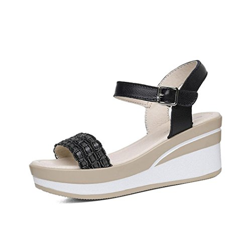 Zapatos de Mujer Primavera y Verano Plataforma de Plataforma de Punta Abierta Impermeable Muffin con Palabra Hebilla Zapatos Casuales Viajes Sandalias de Mujer (Color : Negro, tamaño : 34)