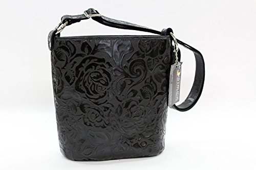 Concealed Carry Purse - CCW Handbags Black Rose Leather - Bucket