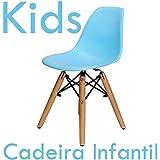 Cadeira Infantil Charles Eames New Wood - Kids - Cor Azul Claro