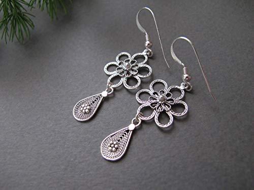 - Silver Filigree earrings, Silver flower earrings, Israel jewelry, yemenite jewelry, dangle earrings, drop earrings, Ethnic earrings