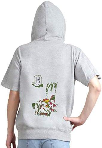 刺繍パーカー 歌川国芳 「金魚づくし」より「ぼんぼん」 半袖 メンズ レディス