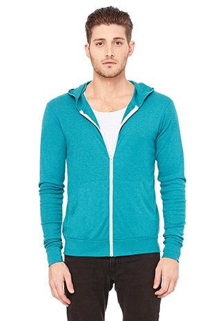 picture of Bella 3939 Unisex Triblend Full-Zip Lightweight Hoodie - Teal Triblend, Extra Small