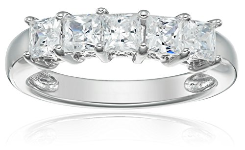 20 Cubic Zirconia Crystals - Platinum-Plated Sterling Silver Princess-Cut 5-Stone Ring made with Swarovski Zirconia (1 cttw), Size 5