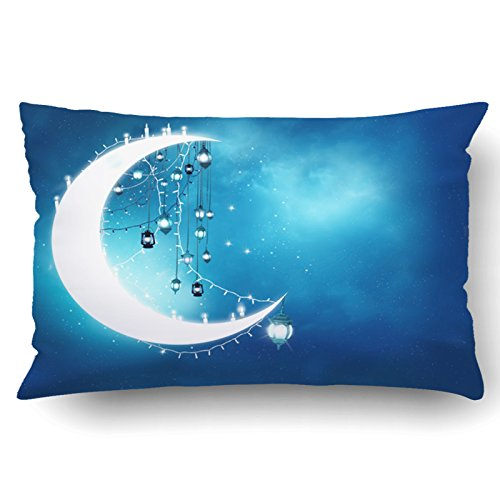 Emvency Pillow Covers Decorative Islamic Greeting Eid Mubarak Muslim Holidays Eid Ul Adha Festival Celebration Bulk With Zippered 20x30 Queen Pillow Case For Home Bed Couch Sofa Car One Sided by Emvency