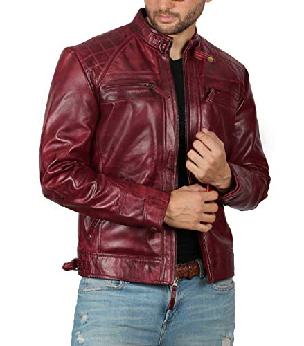 Blingsoul Motorcycle Leather Jacket Men | [1100107] Johnson Real Maroon, 3XL ()