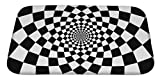 Gear New Bath Mat for Bathroom, Memory Foam Non Slip, Optical Illusion Zoom Black and White, 34x21, 6222814GN