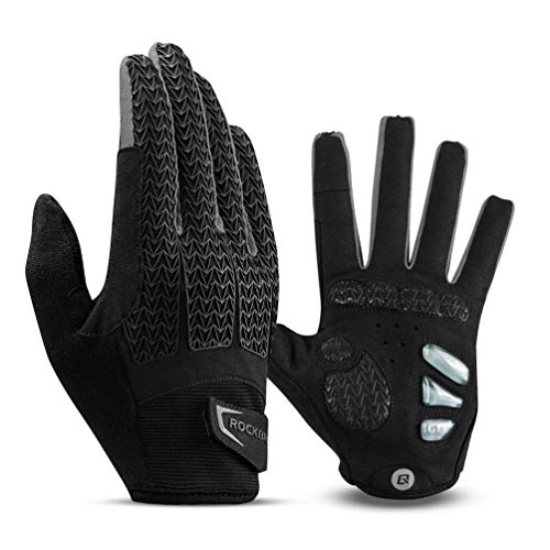 ROCK BROS Road Bike Gloves Cycling Gloves for Men Women Bicycle Gloves Full Finger Workout Commuter Gloves with Gel Padded Shock Absorbing, Touch Screen Anti Slip for Climbing Biking Ridding