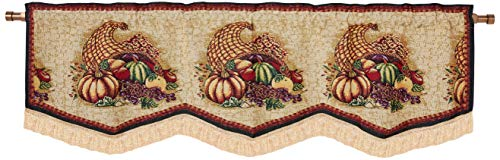 HomeCrate Fall Harvest Collection, Cornucopia, Pumpkins and Fruits Design, Tapestry 60 x 15 Window Valance