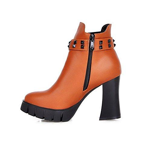 AgooLar Damen Niedrig-Spitze Reißverschluss Blend-Materialien Hoher Absatz Stiefel, Gelb, 36