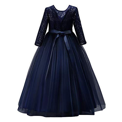 IWEMEK Flower Girls 3/4 Sleeve Lace Tulle Pageant Prom Ball Gown Kid Floor Length Bridesmaid Embroidered Wedding Party First Communion Princess Dress Puffy Dance Evening Long Maxi Dress Z Navy ()