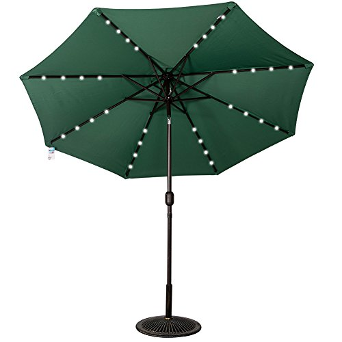 Dark Green, solar-powered patio umbrella with LED lights.