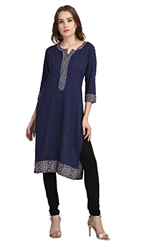 Indi-Dori-Cotton-Round-Neck-Solid-Blue-Jaipuri-Kurti