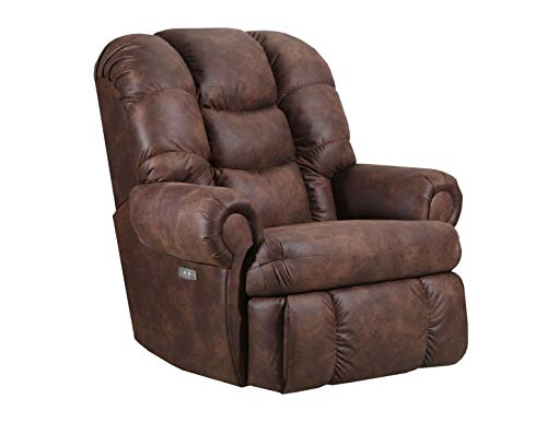 (Lane Stallion Big Man Comfort King (Power Recline) Wallsaver Recliner in Dorado Walnut. Made for The Big Guy Or Gal. Rated for Up to 500 Lbs. Extended Length. 79 Inches. Seat Width. 25 Inches. 4501P)