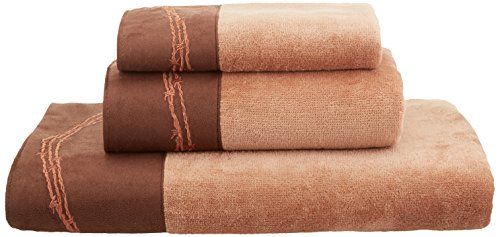 HiEnd Accents Embroidered Barbwire Western Towel Set, Brown