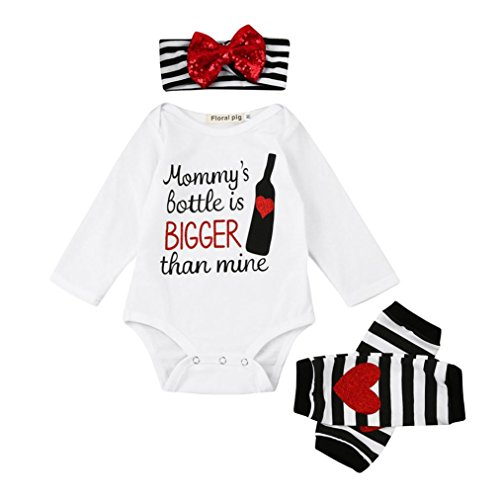 Price comparison product image JPOQW Newborn Toddler Baby Girls Mommy's Bottle is Bigger Than Mine Romper Tops+Leg Warmer+Headband Outfits Set (White, 6 Months)