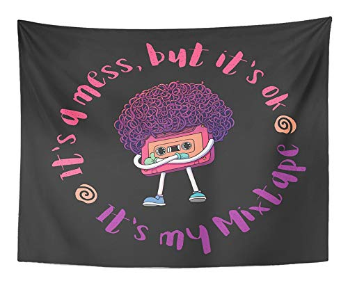 Emvency Tapestry Artwork Wall Hanging Pink Compact Cassette Tape Character Mixtape with Slogan Super Afro Haircut Thumbs 50x60 Inches Tapestries Mattress Tablecloth Curtain Home Decor Print