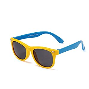 Meanhoo Portable Retro Outdoor UV Protection Silicone Elastic Sunglasses for Kids Unisex ,Colorful Protect Eyes Children Sunglasses and Age 3-6 (Yellow)