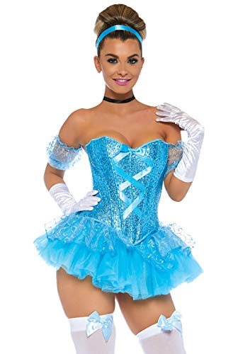 Blue Halloween Costumes (Leg Avenue Women's 5pc.Cinderella,Sequin Corset, Tutu Skirt,arm Puffs,Choker,Headband, Aqua,)