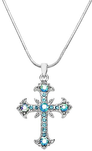 "Aqua Blue and AB Crystals 1-1/4"" Filigree Cross Pendant and Necklace for Girls, Teens and Women"