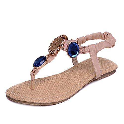 SJJH Bohemian Style Sandals Large Size Women Flip-Flop Sandals New Summer Beach Flat Sandals Pink I5uI7hQIu