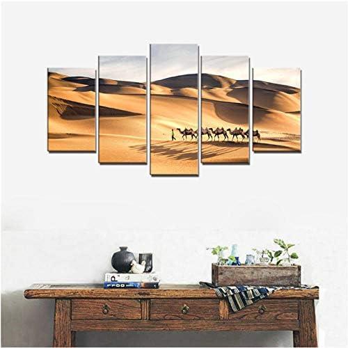 Wuyyii シルクロードのラクダは寝室の壁の装飾のための砂漠の風景の写真を歩く動物のアートワークの壁アートキャンバスプリントカスタム-30X40Cmx2/30X60Cmx2/30X80Cmx1