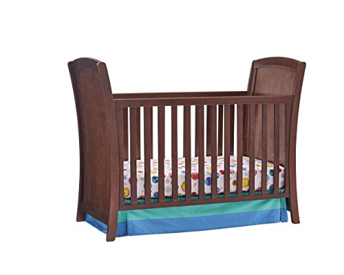 3-in-1, Easy-to-Assemble, Elise Convertible Crib - Built-In Hardware, Contemporary Sleigh Design, 3 Mattress Height Positions, (Espresso Sleigh Crib)