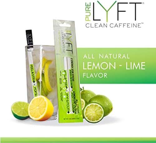pureLYFT All Natural Caffeine Powder, Lemon Lime, Non GMO & Vegan Pre Workout Energy Drink Mix with Low Sugar and Zero Calories (24 Sticks)