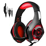 PS4 Headset |Playstation 4 Gaming Headset Mfeel PS4 Gaming Headset| Gaming Headset|Xbox One Headset Gaming Headphones with Microphone Volume Control LED Lights for PC - Laptop - Phone(Red)