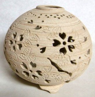 岩手県陶芸品 夢灯ランプシェード さくら(大) 焼しめタイプ (手作りランプアロマ皿付) B01CGB9150