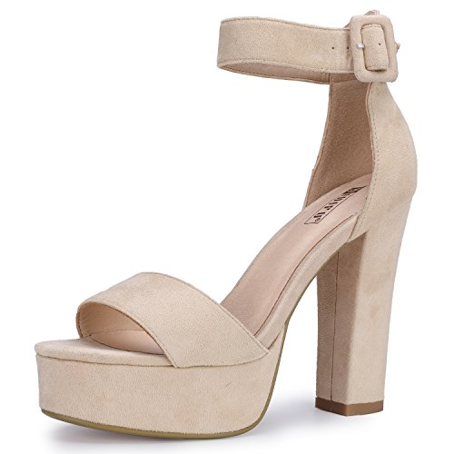 IDIFU Women's IN5 Sabrina Ankle Strap Platform High Chunky Heels Party Sandal (Nude Suede, 10 B(M) US)