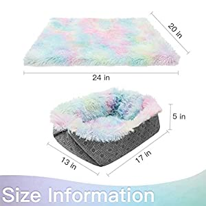 Self Warming Cat Bed / Mat for Indoor Cats – Pet Bed Cushion for Small Dogs, Warm Cave, Soft Colorful Plush Fluffy Puppy…