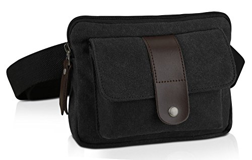 Ibagbar Small Fashion Multifunction Vintage Canvas Waist Bag Fanny Pack Running Pack Outdoor Bag Sporting Bag Cycling Leisure Bag with Detachable Belt for Men and Women Black Bag Fashion Camera Wallet